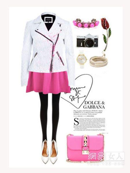 春季潮人色彩搭配 玫粉色+白色